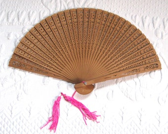 sandalwood fan . carved sandalwood fan