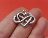 """40, Infinity Heart """"antiqued silver""""  charms 24.7x19.6mm, Hole: Approx. 2.3mm"""