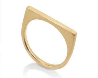 Geometric Wedding Ring, 14k Solid Gold Ring, Modern Wedding Ring
