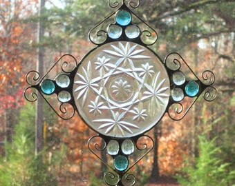 Stained Glass Suncatcher - Vintage Clear Plate, Light Teals Nuggets, and Wire