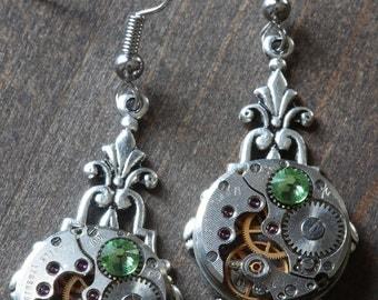 Steampunk Earrings - Peridot Green Swarovski Crystal