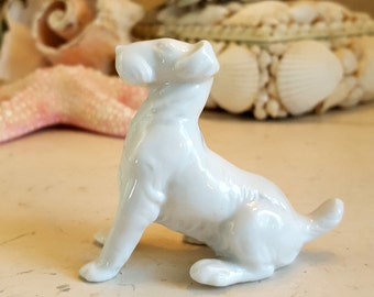 German Fox Terrier Dog Figure White Porcelain Miniature