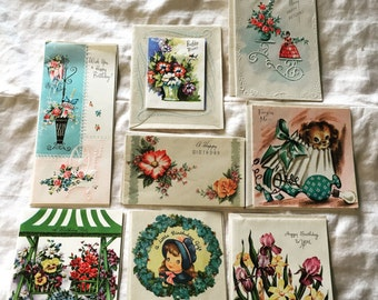 Collection of 8 Vintage Birthday Cards MINT never used