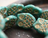 NEW! Owl Be Friends - Czech Glass Beads, Opaque Turquoise, Metallic Gold, Horned Owls 18x15mm - Pc 2