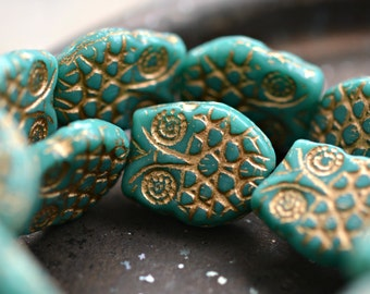 Owl Be Friends - Czech Glass Beads, Opaque Turquoise, Metallic Gold, Horned Owls 18x15mm - Pc 2