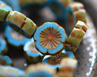 Sweet Dreams - Czech Glass, Opaque Maya Blue, Picasso, Hawaiian Flower Beads 14mm - Pc 4