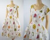 1950s Full Skirt Rockabilly Shirtwaist Dress White with Colors by Ann Foster B42 W29
