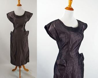 1950s Dress Dark Grey Taffeta Form Fitting by Milton Lippman B36 W25