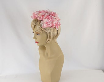 1960s Pink Flowered Half Hat Clip Style