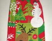Christmas Hanging Towel - Crochet Top Towel - Snowman, Reindeer, Snowflakes, Christmas Tree Towel - Holiday Kitchen Towel - Dish Towel