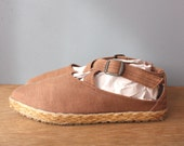 vintage canvas espadrilles 7.5 / mocha strappy sandals / criss cross strap sandals