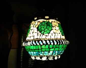 Hanging Mosaic Glass Swag Lamp