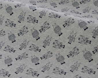 4194 - Robots Cotton Jersey Knit Fabric - 70 Inch (Width) x 1/2 Yard (Length)