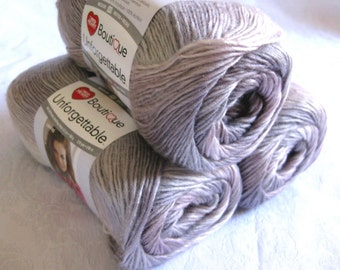 Boutique Unforgettable yarn PEARLY, worsted weight, Red Heart Boutique,  soft mauve and grey