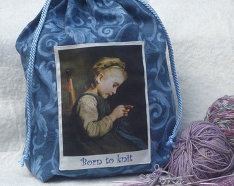 Born to Knit Knitting bag, knitting project holder in blue