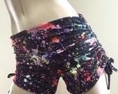 Hot Yoga Shorts Rainbow Splash Low Rise SXYfitness Brand Item #1281 Sizes xxs-xxl (00-18 US)