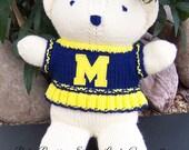 Baby Bobbi Team Bear, Michigan Wolverines Cheerleader Bear, Baby Girl Bear, Baby Shower Gift, Birthday Gift, Keepsake Bear