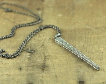 Huge Rose Cut Pave Diamond Long Spike Necklace