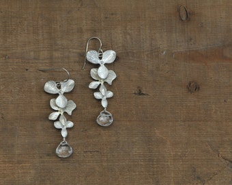Silver Orchid and Quartz Dangle Earrings