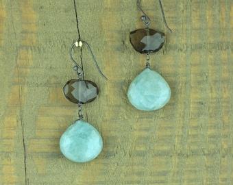 Rustic Aquamarine and Smoky Quartz Teardrop Earrings