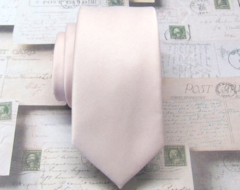 Mens Tie David's Bridal Petal Inspired Pale Pink Inspired Wedding Ties Pastel Angel Blush Pink Skinny Necktie Groomsmens Ties