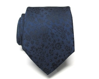 Mens Ties Navy Blue Floral Mens Silk Necktie Wedding Ties With Matching Pocket Square Option