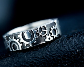 Steampunk Gear Ring Silver Steam Punk Industrial Wedding Band