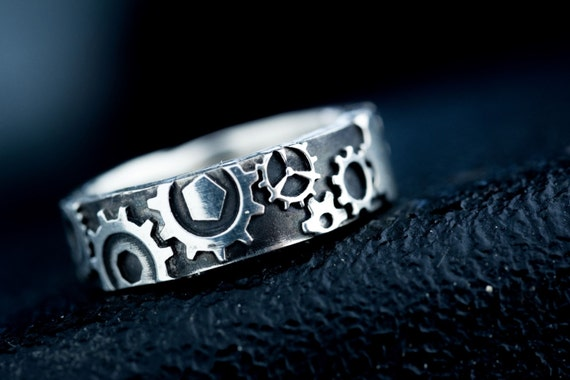 steampunk gear ring silver - Steampunk Wedding Rings