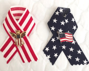 Patriotic Flag Pins with Ribbon - Set of 2