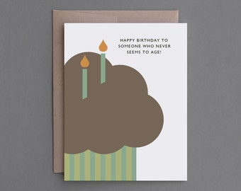 """Funny Birthday Card. For Him, Her, Man, Woman, Friend, Brother, Sister. Sarcastic, Humor, Humorous, Mean, Rude. """"Never Ages"""" (CB103)"""