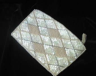 Cream Grey and Pearl beads and sequins evening clutch handbag