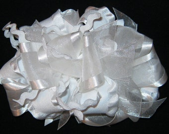 Funky Loopy Spiky Over the Top Solid White Satin Organza Boutique Hair Bow -Available in 3 different sizes~ For weddings pageants portraits