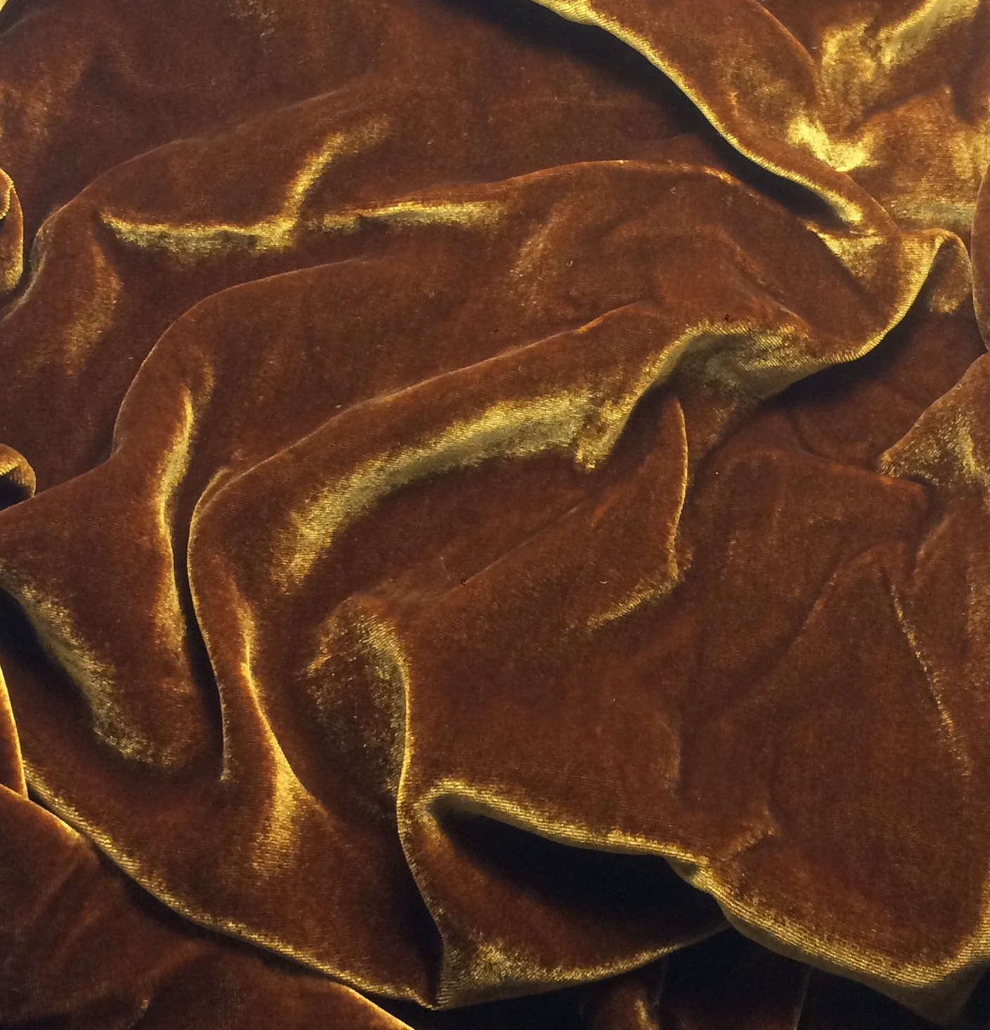 Iridescent amber silk velvet fabric 1 yard for Velvet fabric