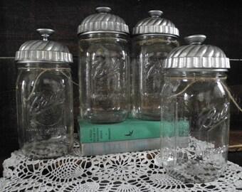 vintage tart tin Ball jar topper
