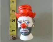 Reserved for Lisa Hobo Sad Clown Head, Craft Supplies , Red Hat  Doll Supply Vintage