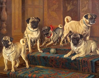 FIVE PUGS with Ball on Stairs Vintage Print.  Instant Download.  Iron On Transfer Art.  Digital Art.  Printable Art.