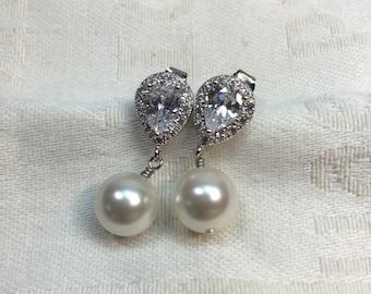 Vintage Pearl Bridal Earrings – Pearl Bridal Jewelry - Cubic Zirconia Crystal Earrings – Pearl Wedding Jewellery - Teardrop Bridal Earrings