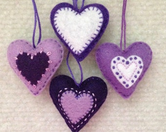 Christmas heart ornaments Purple, Lavender and white felt hearts Set of four