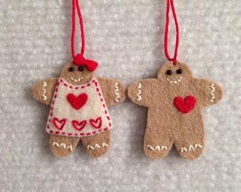 Christmas Gingerbread boy and girl felt ornaments.