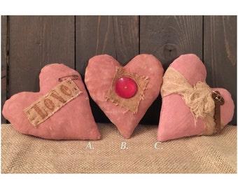 Primitive Pink Hearts Set of 3
