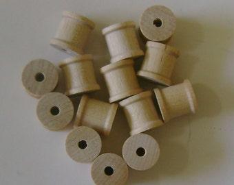 """19 Wood Spools - Unfinished Wood - 1/2"""""""