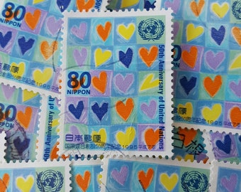 Japanese postage - grid full of hearts - 10