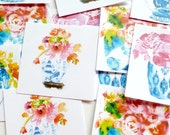 Floral Tags, Gift Tags, Hang Tags, Floral Chinoiserie, Favor Tags, Paper Tags, Blue and White Ginger Jar, Gift Packaging, Tags