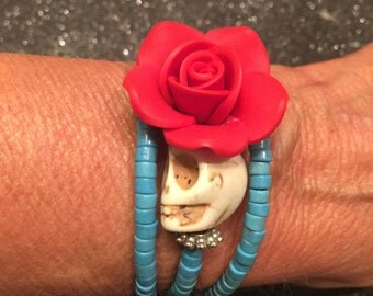 Traditional Design Rockabilly Day of the Dead Gemstone Bracelet-Every Design Tells A Story
