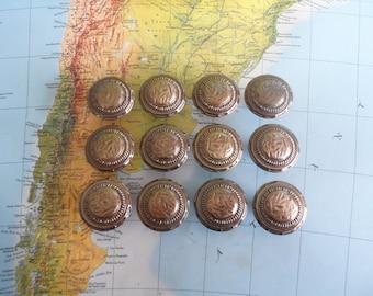 SALE! 12 vintage round textured brass metal knobs