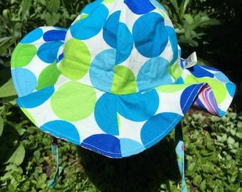 Little Girls Summer Hat Cotton Reversible, Baby Summer Sun Hat, Toddler Summer Hat, Blue Summer Hat, Kids Beach Hat, sun hat, reversible hat