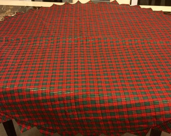 Christmas Tree Skirt Plaid Table Covering Decor Size 45 inch diameter