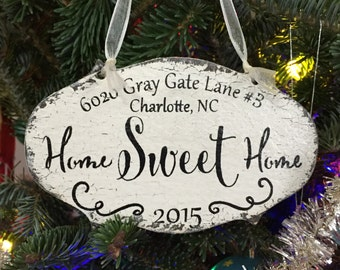 HOME SWEET HOME, New Home Address Ornament, Wood 2017 Christmas Ornaments, Family Christmas Ornaments, 3 1/4 x 5 1/2