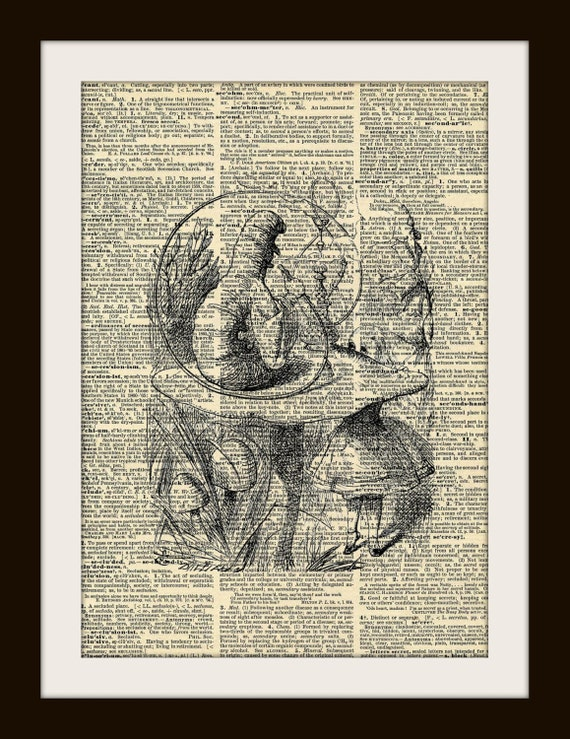 Alice in Wonderland Smoking Caterpillar Art Print Vintage Dictionary Page 8 x 10