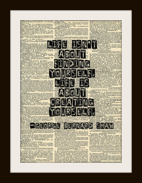 """Art Print GEORGE BERNARD SHAW """"Life isn't about...""""  8x10 Dictionary Gold Gulided Vintage Page"""